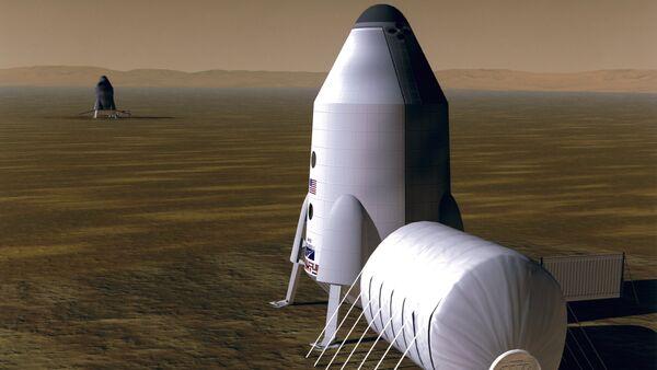 Un habitat en Marte, concepto de un artista - Sputnik Mundo