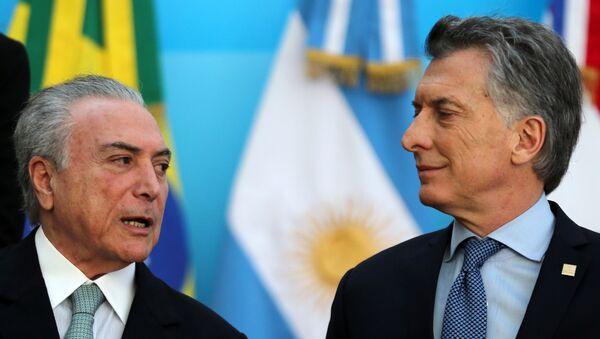 Mauricio Macri, presidente de Argentina, y Michel Temer, presidente de Brasil - Sputnik Mundo