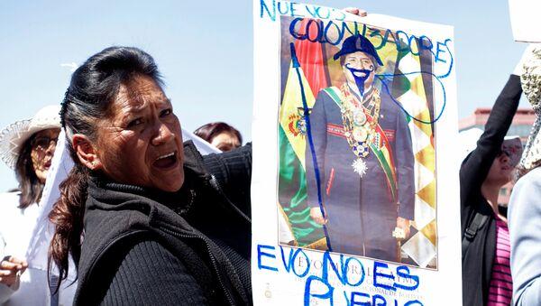 Activista protestando por la construcción de una carretera por una reserva natural indígena en Bolivia (archivo) - Sputnik Mundo
