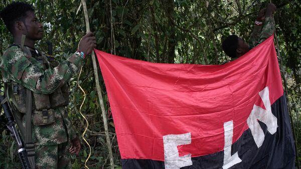 Los rebeldes del Ejército de Liberación Nacional (ELN) sostienen un estandarte en las selvas del noroeste de Colombia - Sputnik Mundo
