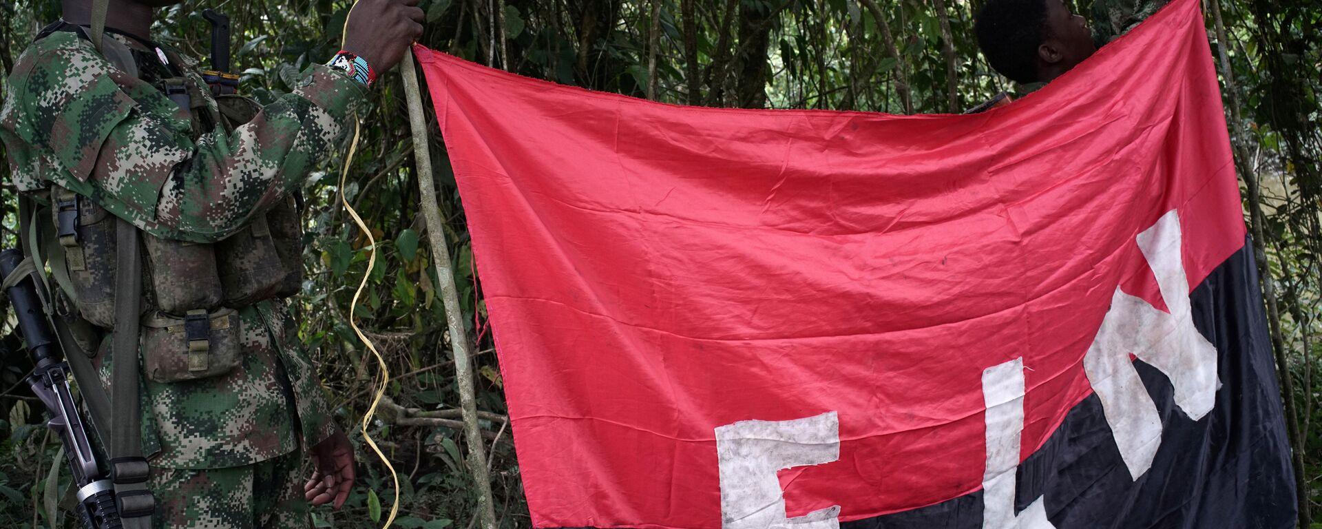Los rebeldes del Ejército de Liberación Nacional (ELN) sostienen un estandarte en las selvas del noroeste de Colombia - Sputnik Mundo, 1920, 16.09.2021