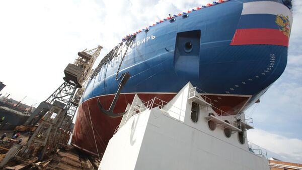 La botadura del rompehielos nuclear Sibir en San Petersburgo - Sputnik Mundo