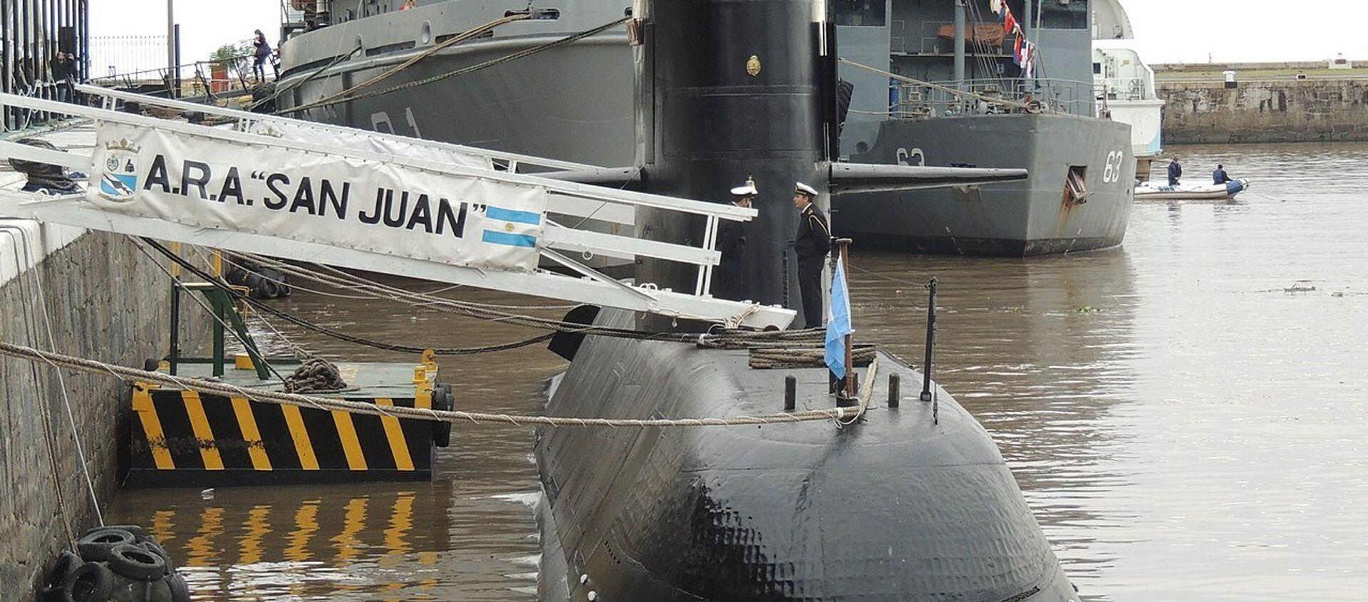 Submarino ARA San Juan en el Apostadero Naval de Buenos Aires, durante una jornada de puertas abiertas en mayo de 2017 por el día de la Armada Argentina.  - Sputnik Mundo, 1920, 27.10.2020
