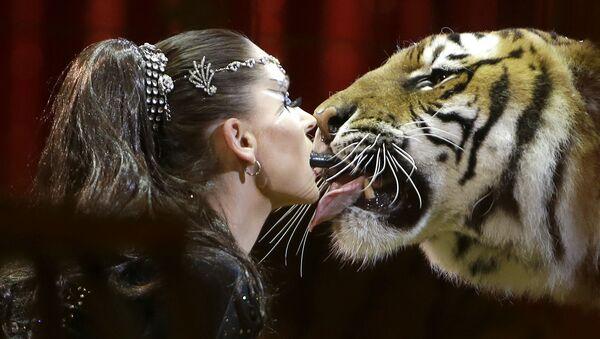 El frío ruso, bellas mujeres y un beso de tigre: las fotos más impactantes de la semana - Sputnik Mundo