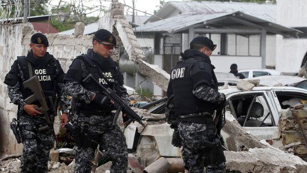 Consecuencias del ataque con coche bomba en una comisaría de Ecuador - Sputnik Mundo