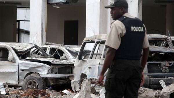 Policía en el lugar del atentado cerca de una estación policial en Ecuador - Sputnik Mundo