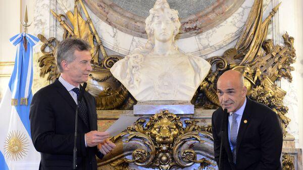 Mauricio Macri, expresidente de Argentina y Gustavo Arribas, exdirector de la Agencia Federal de Inteligencia de Argentina - Sputnik Mundo