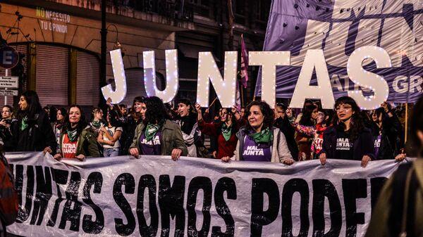 Marcha por los derechos de la mujer en Argentina - Sputnik Mundo