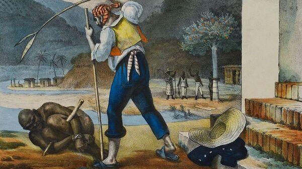 En la época de la colonia, los esclavos en Brasil estaban sometidos a una situación de vejaciones y castigos, como se ve en este cuadro de Jean-Baptiste Debret (1768-1848) - Sputnik Mundo