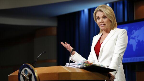 Heather Nauert, portavoz del Departamento de Estado de EEUU, foto de archivo - Sputnik Mundo
