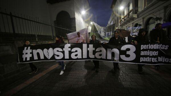 Familiares de los periodistas secuestrados en la frontera entre Colombia y Ecuador - Sputnik Mundo