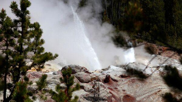 Una erupción del géiser Steamboat, en el Parque Nacional de Yellowstone (archivo) - Sputnik Mundo