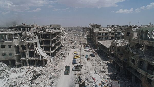El campo de refugiados palestinos Yarmuk situado en el sur de Damasco - Sputnik Mundo