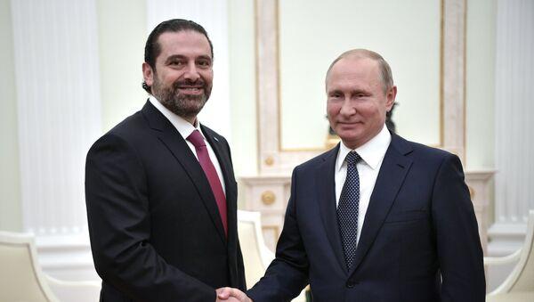 El primer ministro de Líbano, Saad Hariri y el presidente de Rusia, Vladímir Putin - Sputnik Mundo