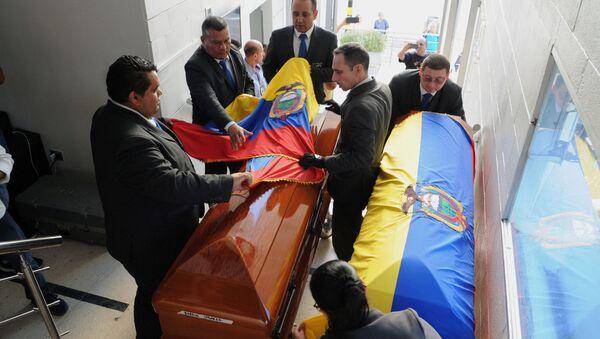 Ataúdes para los cuerpos de periodistas asesinados en Colombia - Sputnik Mundo