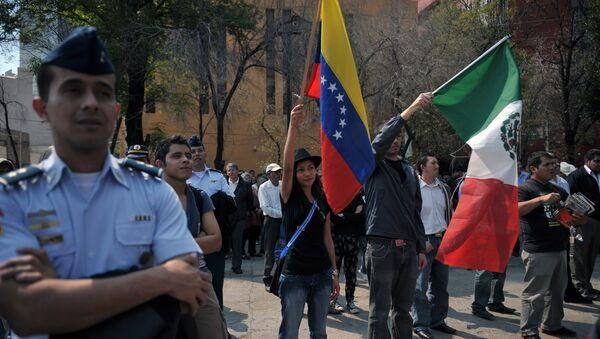 Banderas de Venezuela y México (archivo) - Sputnik Mundo