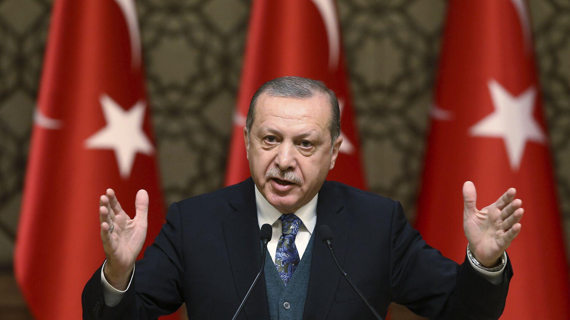 El presidente de Turquía, Recep Tayyip Erdogan, habla durante una ceremonia de premios culturales en Ankara, Turquía - Sputnik Mundo, 1920, 31.03.2021