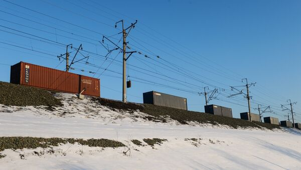 Un tren de carga sigue una de las ramas del ferrocarril Transiberiano cerca de Novosibirsk - Sputnik Mundo