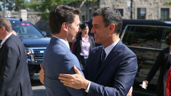 El primer ministro de Canadá, Justin Trudeau, y el presidente del Gobierno español, Pedro Sánchez - Sputnik Mundo