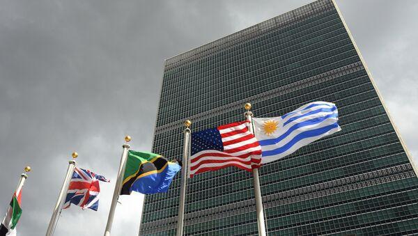 Banderas frente a la sede de la ONU - Sputnik Mundo