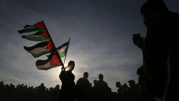 Banderas de Palestina durante las protestas en Gaza - Sputnik Mundo