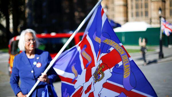 Una mujer con la bandera con nombres de condados de Irlanda del Norte - Sputnik Mundo