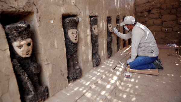 Esculturas de madera en la ciudadela de Chan Chan, Perú - Sputnik Mundo