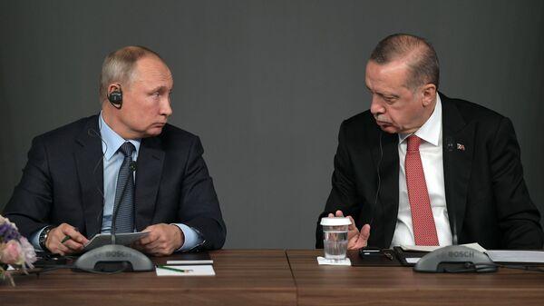 Presidente de Rusia, Vladímir Putin, y presidente de Turquía, Recep Tayyip Erdogan (archivo) - Sputnik Mundo