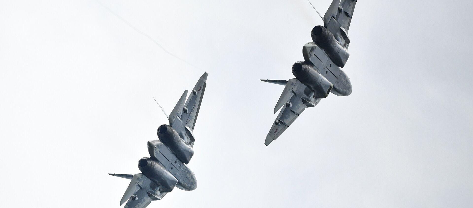 Dos cazas Su-57 (archivo) - Sputnik Mundo, 1920, 01.01.2021