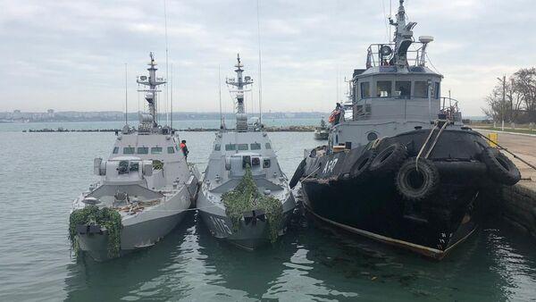 Los buques ucranianos Nikopol, Berdiansk y Yani Kapu detenidos por los guardacostas rusos - Sputnik Mundo