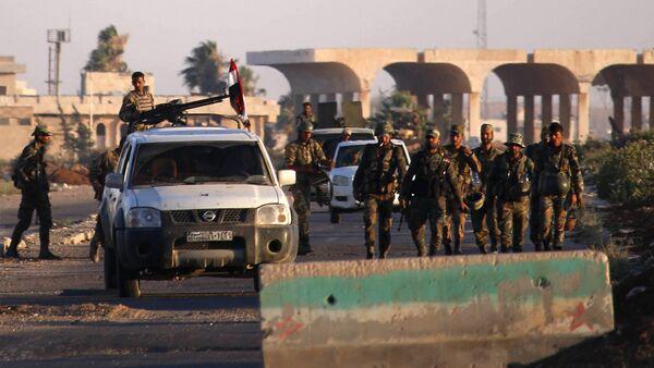 Militares sirios en el paso de Nasib, foto de archivo - Sputnik Mundo