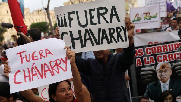 La manifestación contra fiscal general peruano Pedro Chávarry - Sputnik Mundo