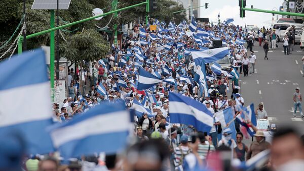 Las banderas de Nicaragua en una protesta - Sputnik Mundo