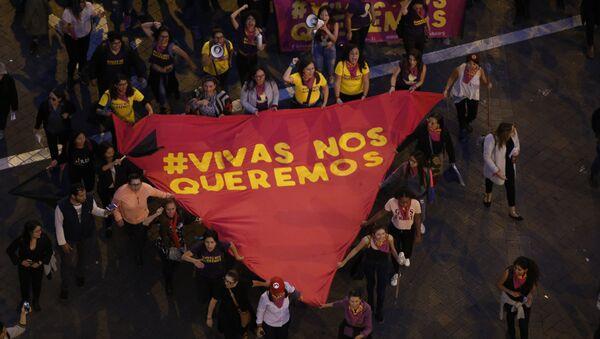 Marcha contra violencia de género en Quito - Sputnik Mundo