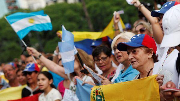 Una manifestación de opositores venezolanos en Buenos Aires - Sputnik Mundo