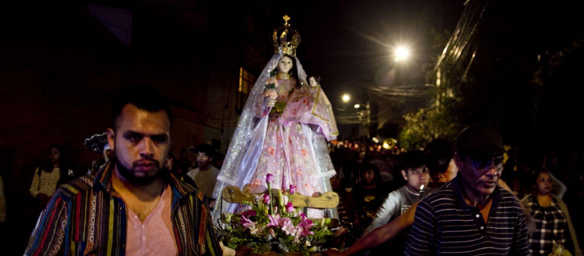 Una de las procesiones en el pueblo de la Candelaria, en Ciudad de México, el día de su santa patrona. - Sputnik Mundo, 1920, 04.02.2019