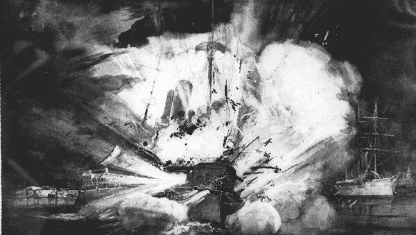 La explosión que destrozó al acorazado estadounidense Maine en el puerto de La Habana, Cuba, el 15 de febrero de 1898, fue dramáticamente retratada en este boceto por un artista de una revista estadounidense de la época. - Sputnik Mundo