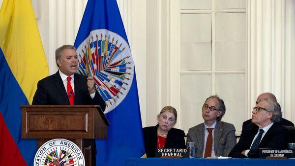 Iván Duque, presidente de Colombia durante su visita a la OEA - Sputnik Mundo