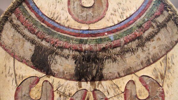 Chimalli expuesto en el Museo Nacional de Historia de México. Escudo utilizado para ceremonias de la cultura mexica durante el post clásico tardío. - Sputnik Mundo