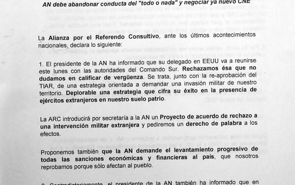 Carta de la Alianza por el Referéndum Consultivo, página 1 - Sputnik Mundo