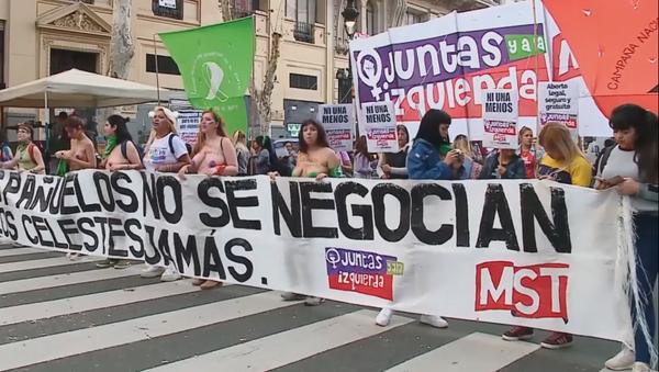 'Ni una menos': la multitudinaria manifestación feminista en Buenos Aires - Sputnik Mundo