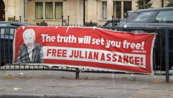 Manifestación de los partidarios de Assange - Sputnik Mundo
