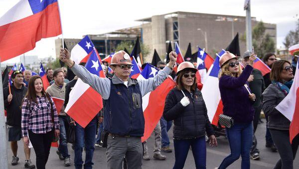 Mineros protestando en Chuquicamata, Chile - Sputnik Mundo