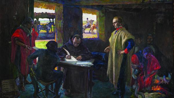 José Artigas dictándole a su secretario Jose Monterroso, pintura de Pedro Blanes Viale - Sputnik Mundo