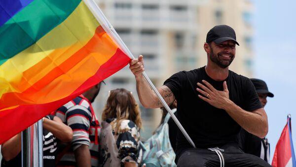 Ricky Martin durante las manifestaciones en contra del gobernador de Puerto Rico Ricardo Rosselló - Sputnik Mundo