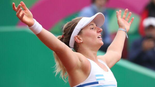 Nadia Podoroska celebra su victoria ante Caroline Dolehide en los Juegos Panamericanos de Lima - Sputnik Mundo