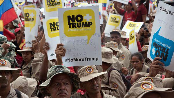 Las protestas en Caracas contra la política de sanciones de EEUU - Sputnik Mundo