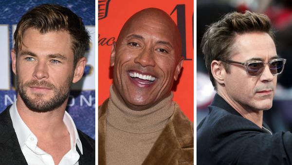 Chris Hemsworth (izda), Dwayne Johnson (ctro) y Robert Downey Jr. (dcha), los actores mejor pagados de Hollywood en 2019 - Sputnik Mundo