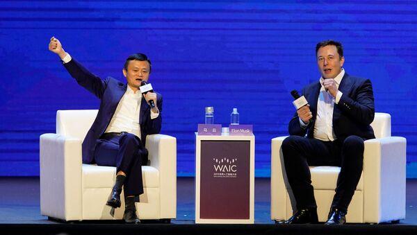 Elon Musk y Jack Ma en una conferencia en Shaghái - Sputnik Mundo