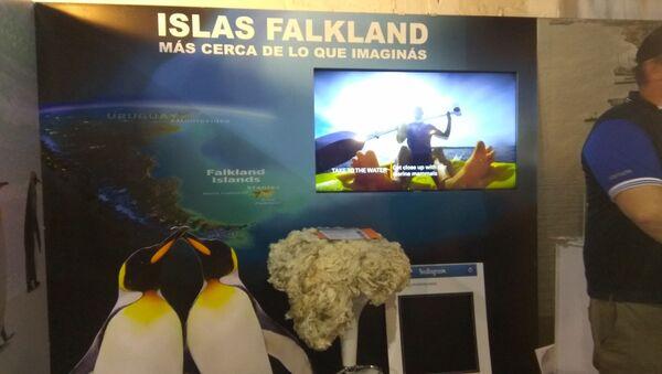 Stand de las Islas Falkland en la Expoprado 2019 en Montevideo, Uruguay - Sputnik Mundo